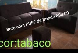 Título do anúncio: Sofá e puff novo