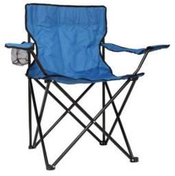 Cadeira dobrável com encosto de braço e porta copos + sacola - azul - entrego - sem juros