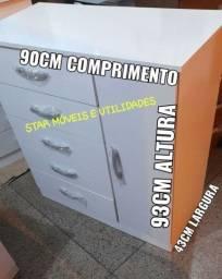 Título do anúncio: CÔMODA COM 5 GAVETAS + SAPATEIRA LATERAL R$270.00 A VISTA OU 10X 30.00 C.CRÉDITO