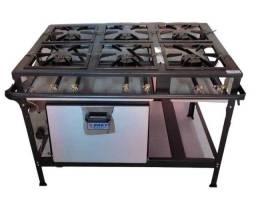 Título do anúncio: fogão industrial alta pressão 6 bocas com forno- novo -metal brey