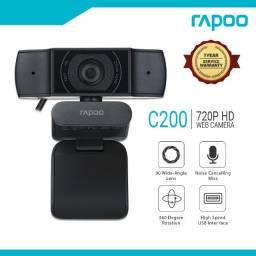Webcam Rapoo C200 Hd 720p Rotação 360º Preto