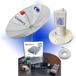 Título do anúncio: Kit Antena Parabólica + Receptor Analógico + Cabos