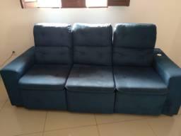 Sofá novo azul petróleo retrátil e reclinavel
