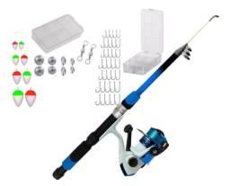 Kit de pesca vara 1,70m + molinete c/ linha + caixinha com itens