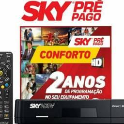Sky pre pago com dois anos de programação e com instalação inclusa