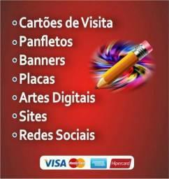 Panfletos + cartões de visita