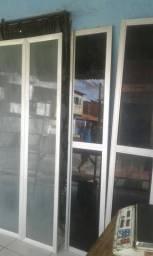 Quatro bandas de portas aluminho vitrine