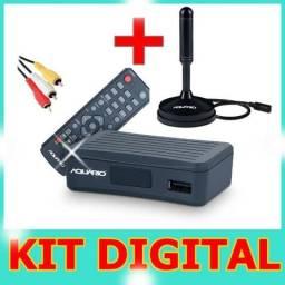 Kit Digital Hdtv Antena Interna + Conversor Dtv-4000 Aquario