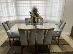 Conjunto Sala Estar e jantar, sofá, mesa, pifes, mofadas