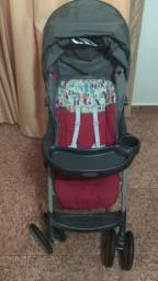 Carrinho para bebê cinza e rosa