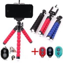 Tripé de polvo para celular, suporte flexível para câmera, selfie