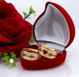 Par de Alianças Batimento Cardíaco. Compromisso Namoro Noivado Casamento - Promoção!