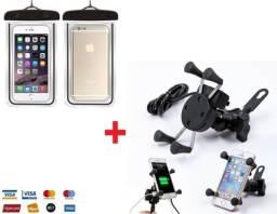 Kit Suporte Celular Carregador X com Capa prova D'água - Moto
