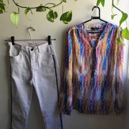 Título do anúncio: Calça jeans branca com detalhes laterais