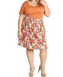 Vestido Plus Size Laranja Floral