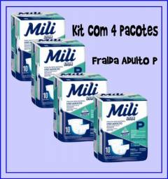 Kit 4 Pacotes Fralda Adulto Mili Vita P 10 Unidades