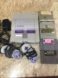 Super Nintendo Completo com 5 jogos