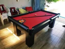 Mesa de Bilhar Charme Preta Tx Tecido Vermelho Modelo WLJ6219
