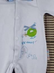 Título do anúncio: kit 3 peças Saída maternidade azul em suedine ( novo) com manta , macacão e casaquinho