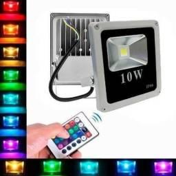 Entrega Grátis * Refletor Led RGB 10w Colorido c/ Controle * Chame no Whats