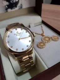 Feminino Champion Dourado CN29874W + colar e brinco