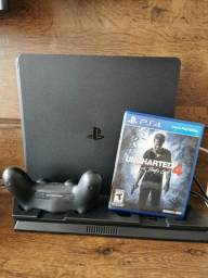 PS4 Slim 500gb, 1 controle Base cooler+Charge Uncharted 4