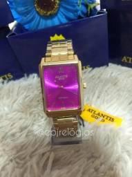 Atlantis Gold G3511 Feminino designer quadrado mostrador rosa (ENTREGA GRATUITA)