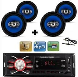Kit com 4 alto falantes de 6 polegadas + rádio automotivo mp3 + antena am/fm