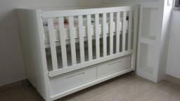 Berço/Mini-cama Square Quater c/ 2 gavetas, cor branca