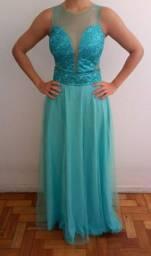 Vestido longo de festa verde tiffany