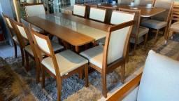 Título do anúncio: Mesa de jantar madeira e acabamento laka luxo de 8 lugares