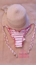 Kit praia biquíni de lacinho tam M novíssimo e chapéu