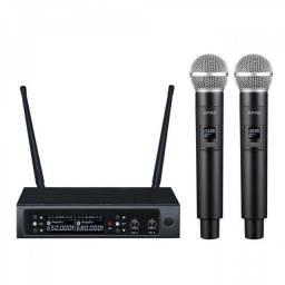 Título do anúncio: Amw Au58 mk2 Microfone sem Fio Duplo Digital UHF + Estojo