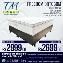 Título do anúncio: Conjunto Box Queen Ortobom Freedom Linha Premium! 12X Sem Juros
