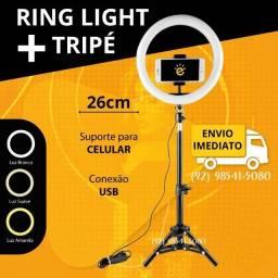 Título do anúncio: Ring Light Led Completo Iluminador Portátil 26cm Tripé de 2.10m