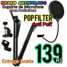 Título do anúncio: Braço Articulado+Pop Filter Anti Puff-Entrega Gratis