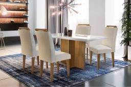 Título do anúncio: Mesa de Jantar Berlim Rufato 4 Cadeiras com tampo em MDF + Vidro - Entrega Imediata;