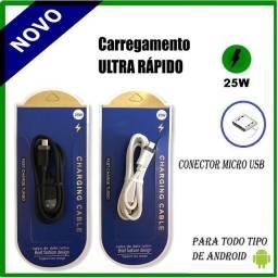 Cabo Carregador TURBO 25w Micro USB Ultra Rápido Compatibilidade Para Tipo