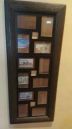 Mural de fotos em madeira