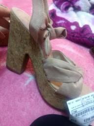 Sandália feminina oneself salto alto meia pata em suede com amarração e nó rosê - 34