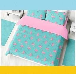 De Fabrica Kit Cobreleito Malha Solteiro Flamingo