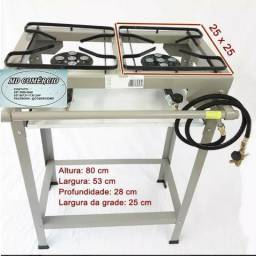 Promoção fogão semi industrial duas bocas a gás alta pressão click e mangueira