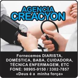 Precisando de Cuidadora, Babá ou Diarista? Agencia Creacyon fornece.
