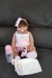 Boneca bebê Reborn Menina toda de Silicone morena 49 cm
