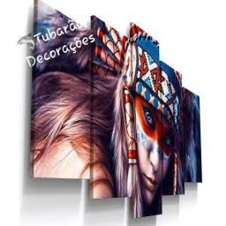 Quadro Mosaico 130x60 05 Peças Índios Americanos