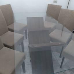 Título do anúncio: Mesa de jantar 6 cadeiras tampo de vidro
