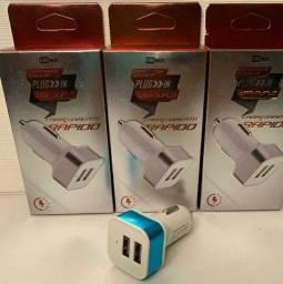 Fonte Carregador  Veicular para Celular Smartphone Dual USB 2.4A