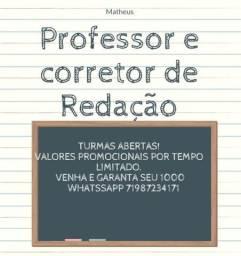 Título do anúncio: Professor e corretor - Redação. Venha já conferir. Aulas e correções particulare!