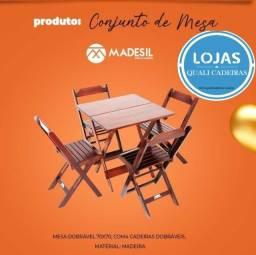 jogo de mesa 70 x 70 com cadeira em madeira Preto / Imbuia