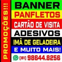 Título do anúncio: banner, adesivo, cartão de visita, panfletos, arte final e mais oferta limitada